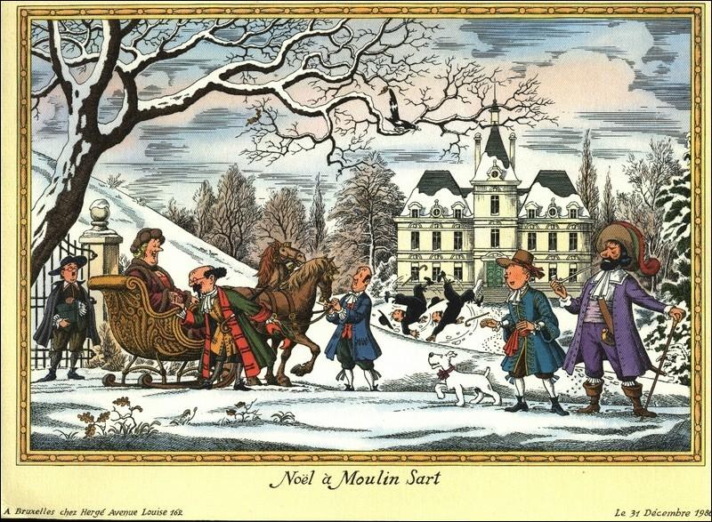 Wow ! On les croirait au Canada ! Quelle belle journée d'hiver. Milou accompagne son maître costumé.Nestor a vraiment tous les talents et Dupond et Dupont, toujours aussi peu... Tournesol fait du charme à Bianca Castafiore et Haddock s'est costumé comme pour 'Le Secret de la Licorne'.
