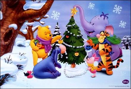 C'est drôle de les voir dans la neige ! C'est bien parce que c'est Winnie qui invite : il a réuni Tigrou, Porcinet, Bourriquet et Lumpy.