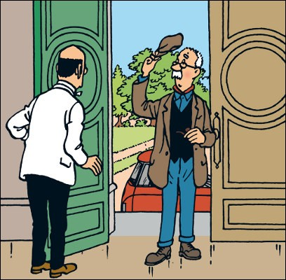 """On reconnaît bien ici M. Boulu, marbrier insaisissable dans """"Les Bijoux de la Castafiore"""". Quel est son prénom ?"""