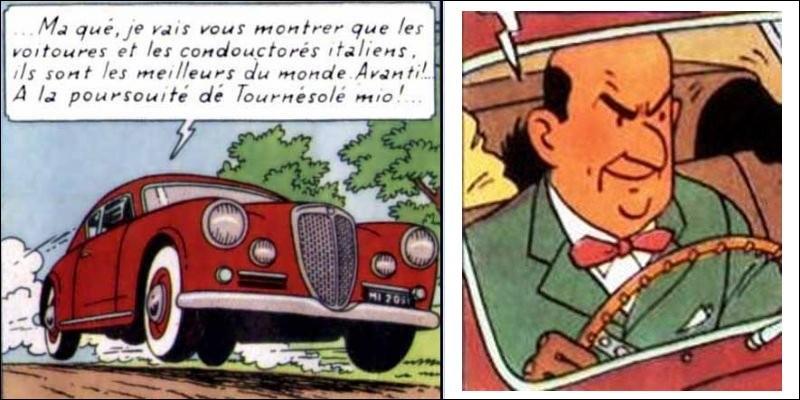 """Dans """"L'Affaire Tournesol"""", ce """"Fangio du dimanche"""" est prénommé Arturo Benedetto Giovanni Giuseppe Pietro Archangelo Alfredo. Quels sont son patronyme et la marque de son bolide ?"""