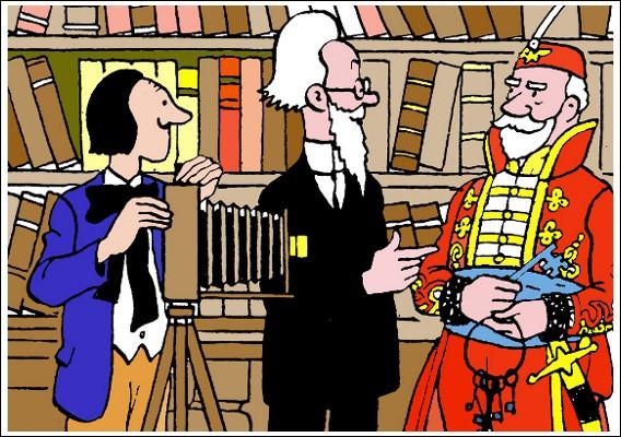 Dans le même album, vous souvenez-vous du garde qui accompagne Tintin dans la salle du trésor du château Kropow ? [À droite sur l'image]