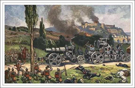 Namur, au confluent de la Sambre et de la Meuse, défendue par un anneau de forts modernes, constituait une place-forte stratégique en août 1914. Quelle arme les Allemands utilisent-ils pour venir à bout de la ville ?