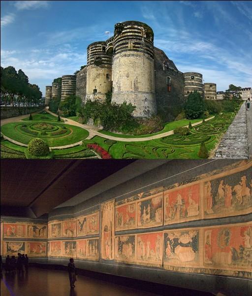 Dans ce château, vous pourrez admirer la magnifique « tapisserie de l'apocalypse ». Il a été construit durant le XIIIe siècle et est composé de calcaire et de schiste, ce qui le rend si particulier. Demandez donc à ce bon roi René ce qu'il en pense !Quelle est cette forteresse ?