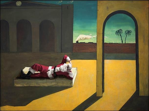 À l'origine, il s'agit d'un autoportrait. De quel artiste italien, né en Grèce, le père Noël a-t-il momentanément pris la place pour un repos bien mérité dans un décor surréaliste ?