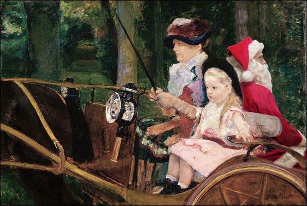 Le facétieux père Noël s'invite dans ce tableau pour se faire conduire par la mère et son enfant. Qui est l'artiste peintre de l'original ?