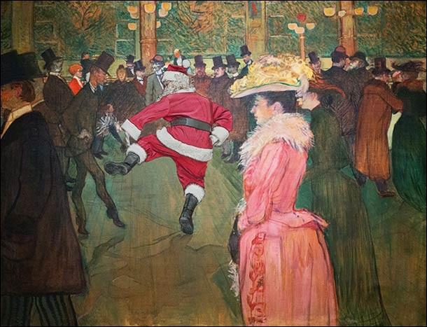 Ici, le père Noël a pris la place de la danseuse principale du Moulin-Rouge pour un french cancan endiablé. De qui est le tableau ?