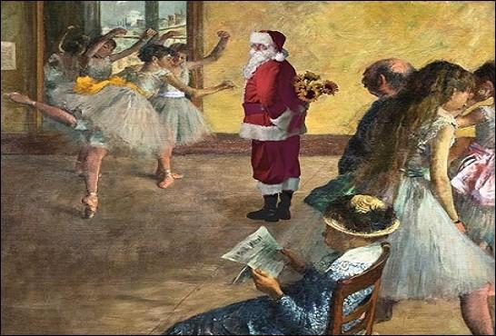 Chez quel maître s'invite le père Noël, peut-être pour prendre une leçon de danse ?
