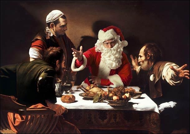 Un souper en compagnie sainte. Qui est le peintre et de qui le père Noël prend-il la place ?