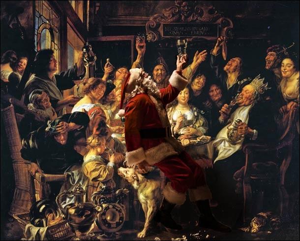 """C'est lors du """"Repas de famille le jour de la Fête des Rois"""" que s'invite le père Noël. Qui est l'auteur flamand de la peinture sur toile originale ?"""