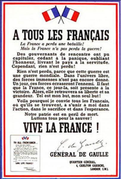 Parlons de l'affiche « A tous les Français » ! Il y a eu de nombreuses parutions. Les trois plus marquantes furent, bien sûr, les trois premières parutions, puisqu'elles furent réalisées en Grande-Bretagne.Quelles sont les « erreurs » que l'on peut voir dans cette affiche ?