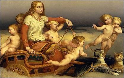 Dans la mythologie nordique, quelle déesse avait un char tiré par deux grands chats ?
