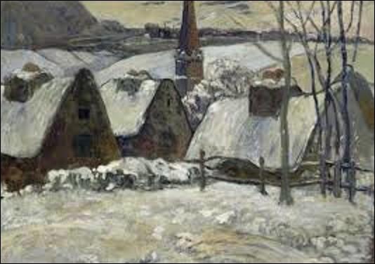 Trouvé à la mort de l'artiste, ''Village breton sous la neige'' est une œuvre peinte vers 1894, se situant au musée d'Orsay. Quel peintre de mouvement postimpressionnisme, chef de file de l'École de Pont-Aven et inspirateur des nabis, a peint cette huile sur toile dont les dimensions sont de 0,62 m de hauteur et de 1,05 m de longueur ?