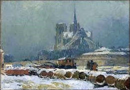 J'avoue que ma question n'est pas facile. Quel peintre de l'École de Rouen a réalisé, en 1895, cette huile sur toile intitulée ''Notre-Dame de Paris sous la neige'' ?