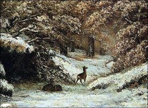 Acquis en 1883 par le musée des Beaux-Arts de Lyon, ''La Remise des chevreuils en hiver'' est un tableau peint vers 1866 par un peintre de mouvement réalisme. Parmi ces trois artistes, lequel a peint cette toile ?