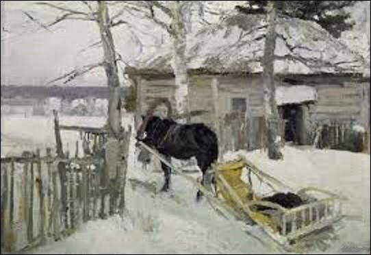 Conservé à la galerie Tretiakov à Moscou, ''En hiver'' est un tableau réalisé entre 1894-1895 et qui représente un cheval tractant un traîneau, debout tranquillement dans la neige près d'une maison. Quel impressionniste et décorateur de théâtre russe a peint cette toile ?