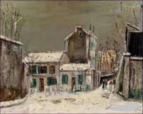 ''Le Lapin Agile sous la neige'' est une oeuvre peinte, apparemment, dans les années 30. Quel est le nom de l'artiste, de l'École de Paris, qui a croqué ce paysage enneigé et ce cabaret célèbre de la butte de Montmartre ?