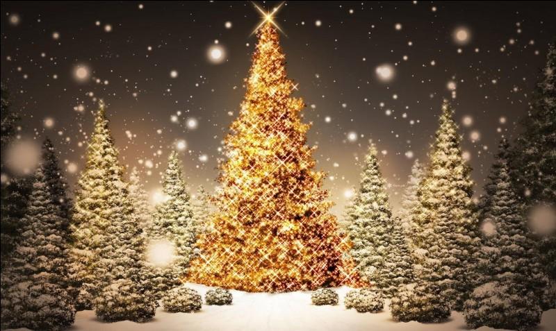 Au sommet du sapin de Noël.