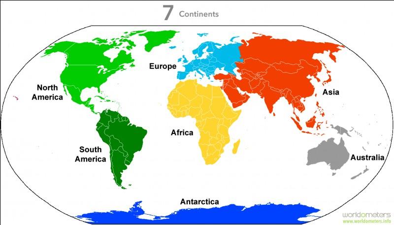 Quel est le continent bleu clair ?