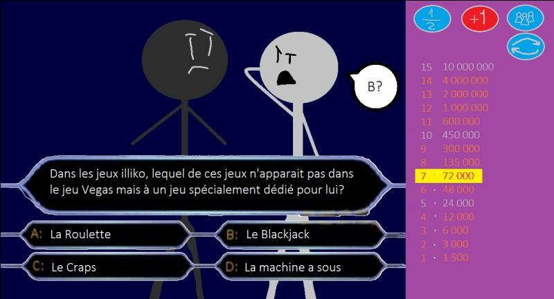 Dans les jeux Illiko, lequel de ces jeux n'apparaît pas dans le jeu Vegas, mais à un jeu spécialement dédié pour lui ?