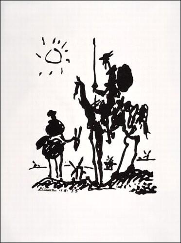 Ce dessin en noir et blanc de ... représente Don Quichotte à côté de son fidèle écuyer Sancho Panza. On aperçoit les moulins à vent contre lesquels il va se battre.