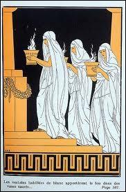 Cette gravure représente trois femmes vêtues de blanc, qui exercent un métier disparu, bien spécifique. Quel est ce métier ?