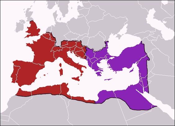 À la mort de quel empereur l'Empire romain se divise-t-il en deux en 395 ?