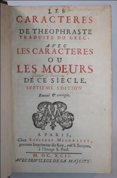 """Lequel de ces chapitres ne fait pas partie des """"Caractères"""" de la Bruyère ?"""