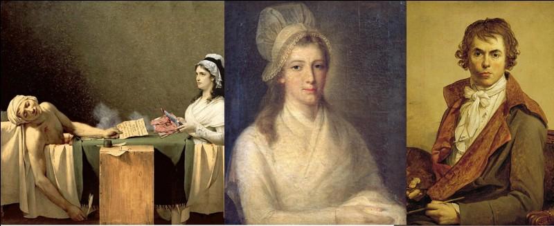Nous sommes le 13 juillet 1793 à Paris.Ce médecin et physicien français soignait une maladie de peau lorsqu'il a été assassiné. Un peintre fut chargé de créer une œuvre le représentant mort. Son assassin était la descendante lointaine d'un écrivain !Qui sont les protagonistes de cette affaire (dans l'ordre, la victime, l'assassin, le peintre) ?