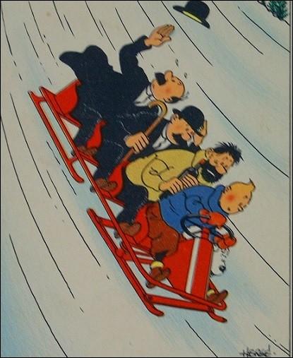 Tous les amis de Tintin sont montés sur un bobsleigh sauf un, lequel ?