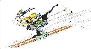 Gaston Lagaffe a aussi chaussé ses skis mais il n'est pas seul. Le voilà qui s'élance pour ...