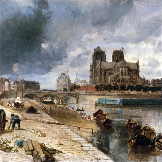 """""""Notre Dame de Paris vue du quai de la Tournelle"""" 1852"""