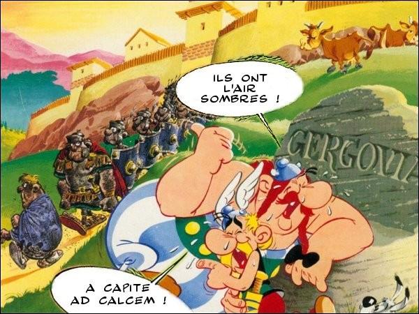 Dans « Le bouclier arverne », Astérix et Obélix auraient pu s'en donner à cœur joie, en latin dans le texte. Par exemple... (Complétez !)