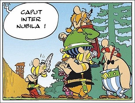 Que veut donc dire le chef du camp romain, s'adressant à Abraracourcix, avec son « Caput inter nubila » ?