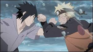 Vers la fin de leur combat, quand ils sont épuisés, que perd Naruto après le coup de poing de Sasuke ?
