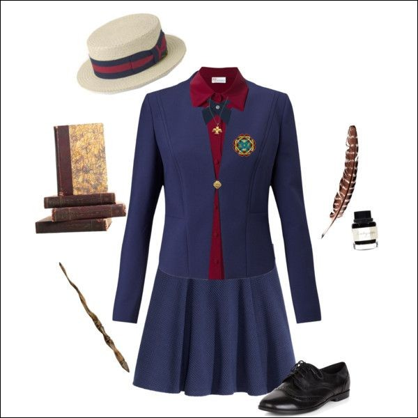L'uniforme d'Ilvermorny est bleu et rouge. Puisque tu rentres dans cette école, tu vas devoir le porter tous les jours.