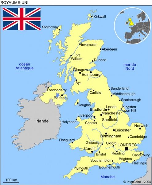 Partie 2 : géographie. Quelle est la superficie totale du Royaume-Uni ?