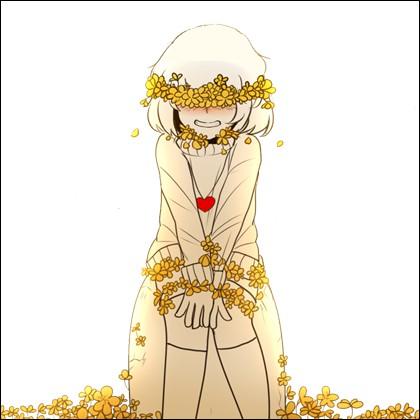 Dans quel A.U. Frisk a des fleurs dorées qui poussent sur tout son corps quand elle meurt ?
