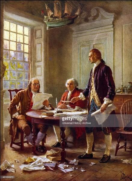 Parlons un peu des Pères de la Confédération américaine. Nous avons ici Jefferson, Adams et Franklin. Bien qu'ils aient œuvré en commun, Jefferson est en fait le principal auteur du texte. Thomas Jefferson deviendra par la suite le troisième président de la République !