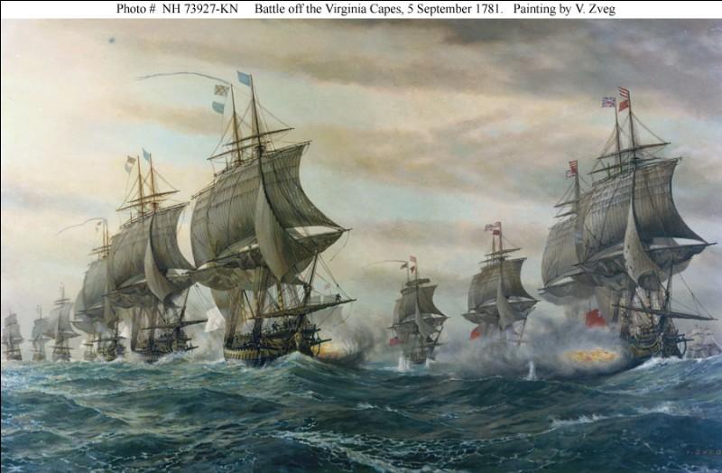 La bataille navale de la baie de Chesapeake était d'une importance majeure dans le conflit. La précision du tir de la flotte française endommagea six navires britanniques pour les forcer à prendre fuite.Cette victoire française empêcha les navires britanniques de secourir les forces du général Cornwallis à Yorktown.George Washington, Rochambeau et La Fayette sauront profiter de la situation...