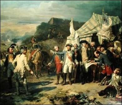 On voit les deux commandants alliés, Rochambeau avec, à sa gauche, Washington, s'apprêtant à lancer le dernier assaut contre Yorktown. On reconnaît La Fayette, tête nue, derrière Rochambeau, et Saint-Simon à droite de Washington. À cheval et de dos : le duc de Lauzun...