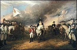 La capitulation de l'Armée royale britannique : on voit ici la reddition de Lord Cornwallis. Le général britannique se rendant aux forces françaises et américaines après le siège de Yorktown (28 septembre - 10 octobre 1781).Il s'agit d'un moment qui portera les forces alliées vers la victoire finale...