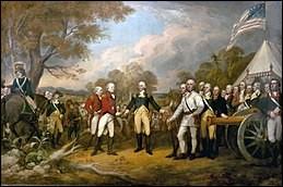 Reddition des armes du 17 octobre 1777. Le général britannique Burgoyne, en rouge, offrit son épée au général américain Horatio Gates, qui la refusa et invita plutôt son rival, tel un gentleman, à passer sous sa tente...
