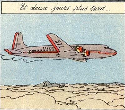 Tintin et Haddock atterrissent dans ce DC 6 de la Syldair. Dans quel album est-ce ?