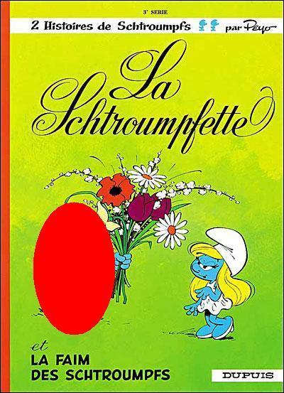 Le Schtroumpf qui tient le bouquet est...