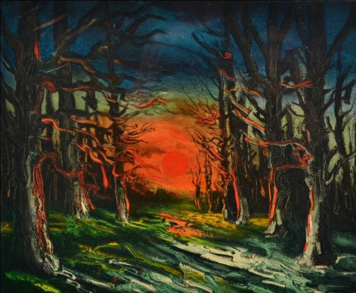 Qui a représenté ce soleil couchant en forêt ?
