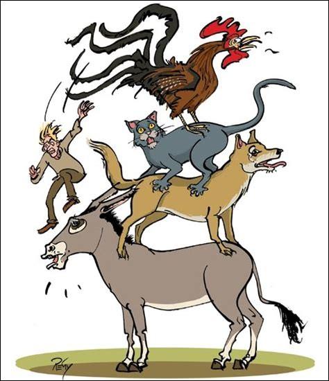 """""""Sauter du coq à l'âne"""", cela veut dire..."""