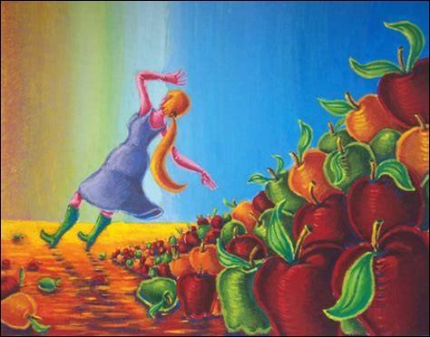 """Cette expression très connue, """"Tomber dans les pommes"""", veut bien sûr dire..."""