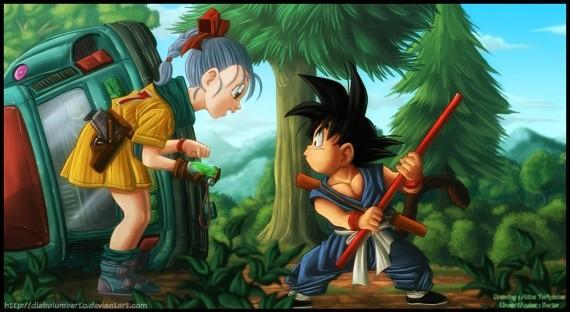 Que fait Gokû quand il voit Bulma pour le première fois ?