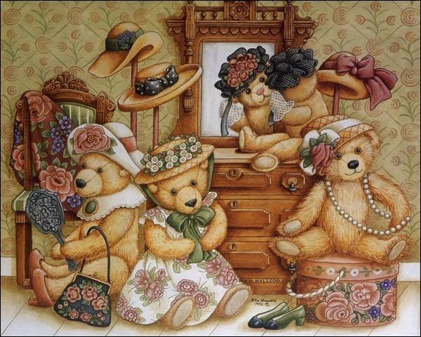 Sois attentif, combien y a-t-il d'ours et de chapeaux dans la pièce ?
