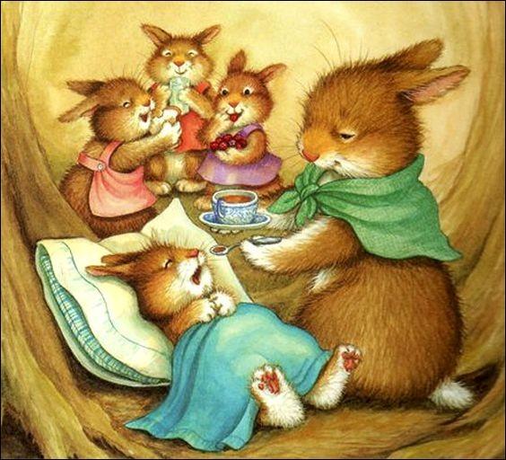 Pourquoi sa maman donne-t-elle du sirop à ce petit lapin ?